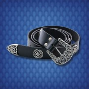 Noble´s Black Leather Belt. Windlass. Cinturon Noble Medieval Cuero Negro. Marto